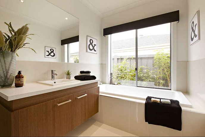 Bathroom with large windows