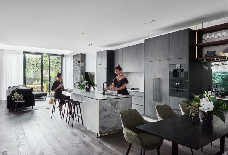 Bright kitchen with large windows