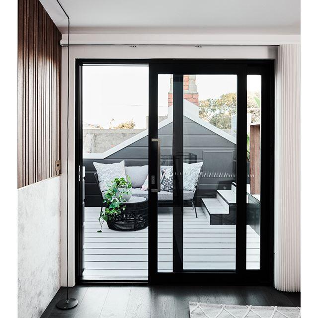 Sliding door looking out over outdoor deck