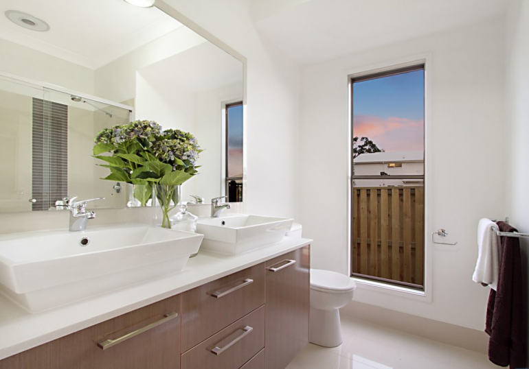 Bathroom with large window