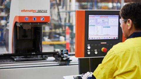 Worker operating machine