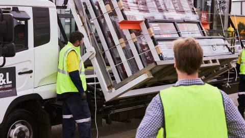 Loading windows on truck