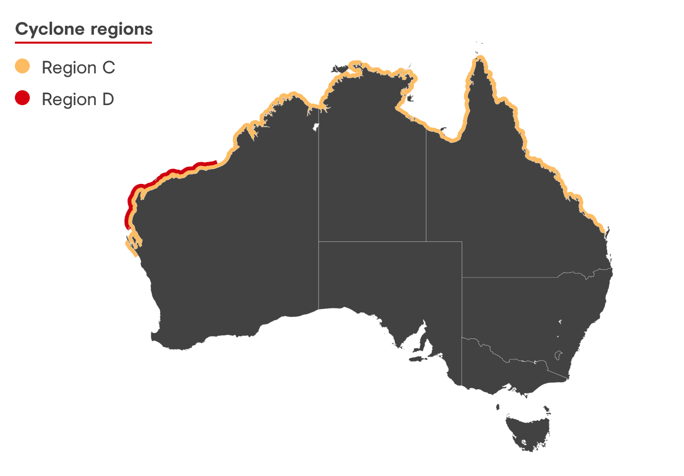 diagram demonstrating the different cyclone regions on Australian coast lines
